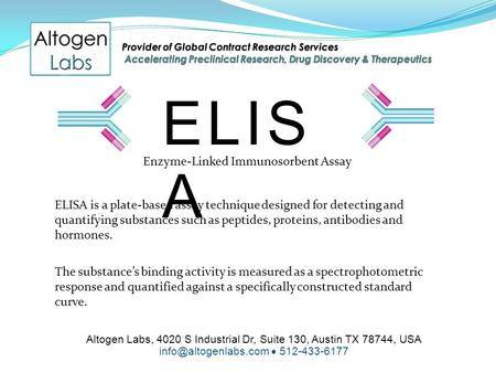 Altogen Labs, 4020 S Industrial Dr, Suite 130, Austin TX 78744, USA  512-433-6177 ELIS A Enzyme-Linked Immunosorbent Assay ELISA.