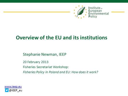 Overview of the EU and its institutions Stephanie Newman, IEEP 20 February 2013 Fisheries Secretariat Workshop: Fisheries Policy in.