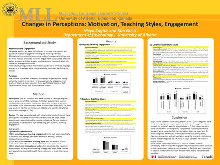 Motivating Language Learners' Project University of Alberta, Edmonton, Canada Changes in Perceptions: Motivation, Teaching Styles, Engagement Maya Sugita.