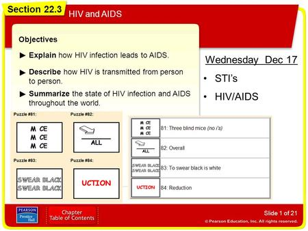Wednesday Dec 17 STI's HIV/AIDS Section 22.3 HIV and AIDS Objectives