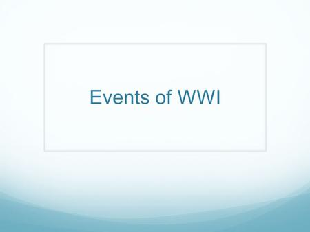 Events of WWI.