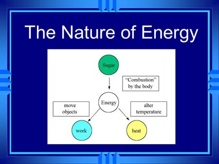 The Nature of Energy u Energy is the ability to do work or produce heat. u It exists in two basic forms, potential energy and kinetic energy.