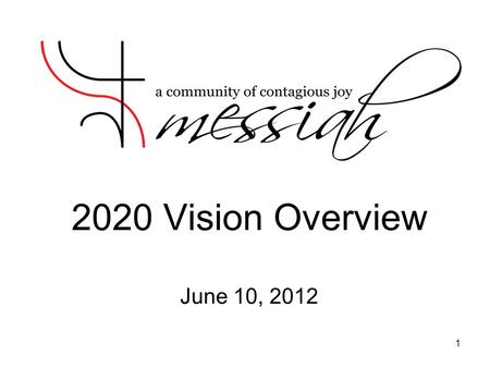 2020 Vision Overview June 10, 2012 1. Why a Vision? Communicate and gain congregation support for Messiah's future ministries, staffing, and facility.