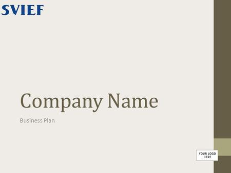 Company Name Business Plan.