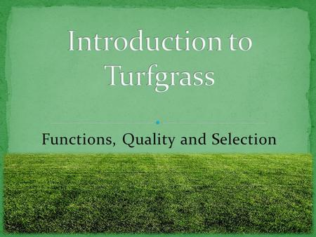 Functions, Quality and Selection. Students will: Know the three purposes and functions of turfgrass. Know how to determine turfgrass quality. Know the.