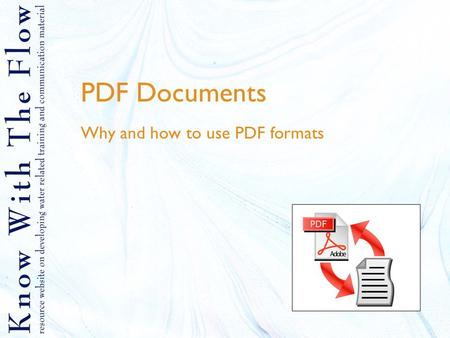 PDF Documents Why and how to use PDF formats. Contents 1.What is PDF 2.Why using PDF 3.How to create PDF files 4.How to use an online PDF creator 5.How.