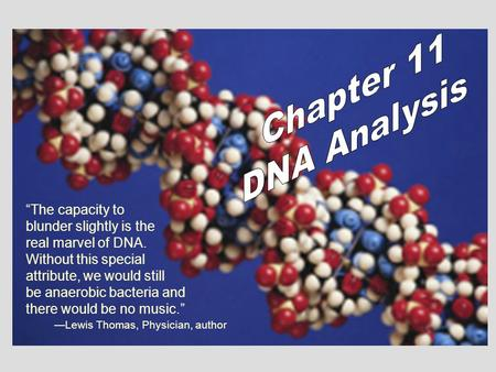 """The capacity to blunder slightly is the real marvel of DNA. Without this special attribute, we would still be anaerobic bacteria and there would be no."