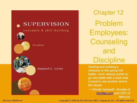Problem Employees: Counseling and Discipline