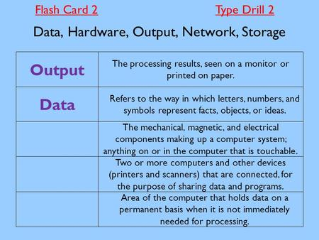 Data, Hardware, Output, Network, Storage Area of the computer that holds data on a permanent basis when it is not immediately needed for processing. Two.
