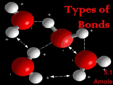 5.1 Amole Chemical Bonding  When two or more atoms join a bond is formed  It will not fall apart unless enough energy is added to break the bond 