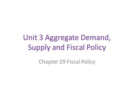 Unit 3 Aggregate Demand, Supply and Fiscal Policy