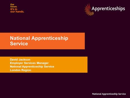 David Jackson Employer Services Manager National Apprenticeship Service London Region National Apprenticeship Service.