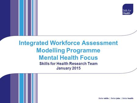 Integrated Workforce Assessment Modelling Programme Mental Health Focus Skills for Health Research Team January 2015.