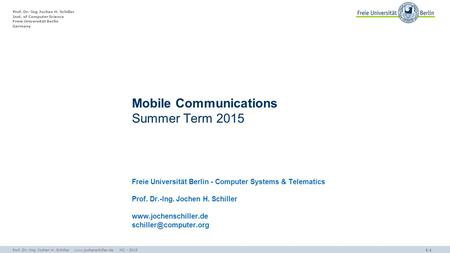 Mobile Communications Summer Term 2015