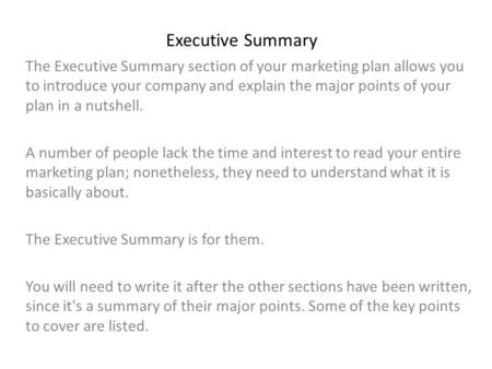 what is in executive summary