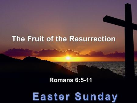 "The Fruit of the Resurrection Romans 6:5-11. ""Where sin increased, grace increased all the more!"" Romans 5:20."