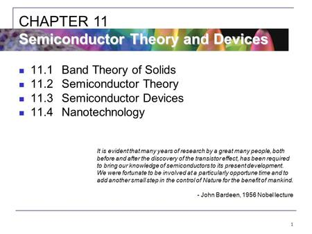 CHAPTER 11 Semiconductor Theory and Devices