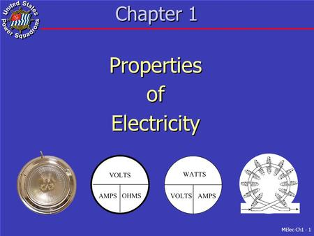 MElec-Ch1 - 1 Chapter 1 Properties of Electricity Properties of Electricity.