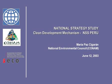 María Paz Cigarán National Environmental Council (CONAM) June 12, 2003 NATIONAL STRATEGY STUDY Clean Development Mechanism - NSS PERU.