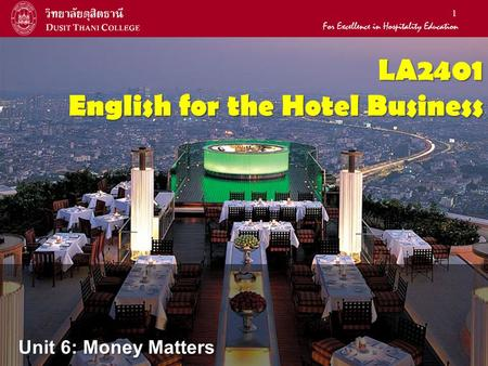 LA2401 English for the Hotel Business