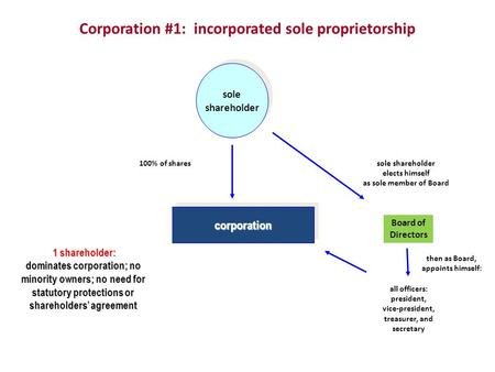 Corporation #1: incorporated sole proprietorship corporation corporation sole shareholder sole shareholder Board of Directors all officers: president,