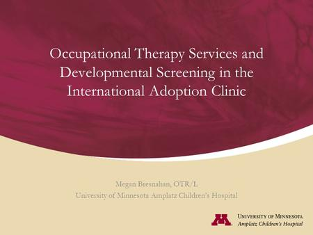 Occupational Therapy Services and Developmental Screening in the International Adoption Clinic Megan Bresnahan, OTR/L University of Minnesota Amplatz Children's.