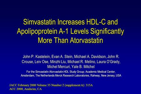 Simvastatin Increases HDL-C and Apolipoprotein A-1 Levels Significantly More Than Atorvastatin John P. Kastelein, Evan A. Stein, Michael A. Davidson, John.