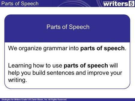 Parts of Speech Parts of Speech