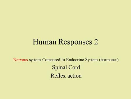 Human Responses 2 Nervous system Compared to Endocrine System (hormones) Spinal Cord Reflex action.