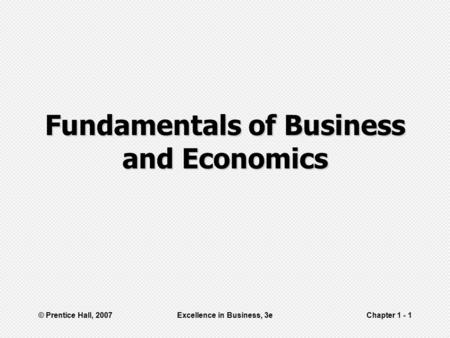 Fundamentals of Business and Economics