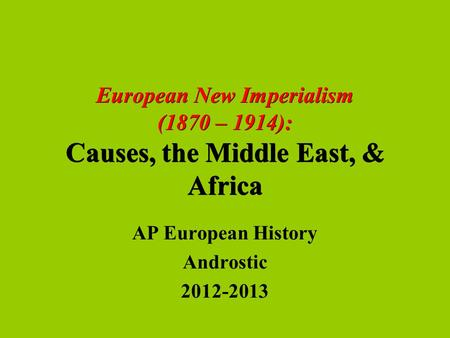 AP European History Androstic