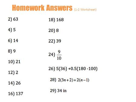 Homework Answers (1-2 Worksheet)