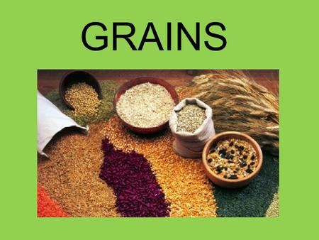 GRAINS. Major food supply all over the world because Easy to grow & store Low in cost compared to other foods High energy value.