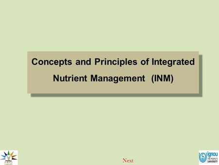 Concepts and Principles of Integrated Nutrient Management (INM)