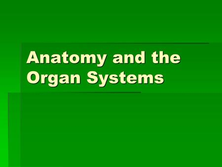 Anatomy and the Organ Systems. Anatomy – the study of the structure of an organism  Recall… Animals are multicellular organisms with specialized cells.