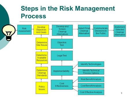 1 Risk Assessment Develop Objectives And Goals Develop and Screen Cleanup Alternatives Select Final Cleanup Alternative Communicate Decisions to the Public.