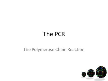 The PCR The Polymerase Chain Reaction. The PCR is used to make copies of DNA (amplification). Whole genome OR DNA fragments.