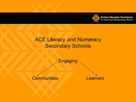ACE Literacy and Numeracy Secondary Schools Engaging CommunitiesLearners.