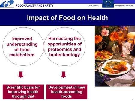 DG ResearchEuropean Commission 1 FOOD QUALITY AND SAFETY DG RTD/E.2/JL - 8/8/2015 Development of new health-promoting foods Impact of Food on Health Scientific.