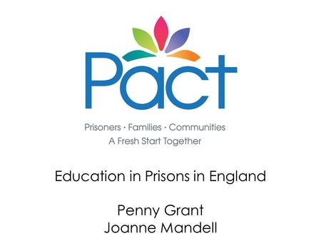 Education in Prisons in England Penny Grant Joanne Mandell.