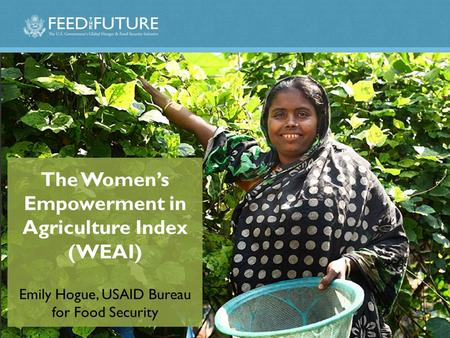 The Women's Empowerment in Agriculture Index (WEAI) Emily Hogue, USAID Bureau for Food Security.