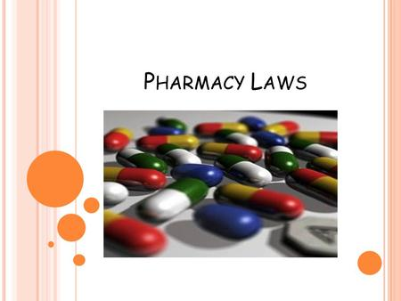 P HARMACY L AWS. 1906 Pure Food and Drug Act Enacted to stop sale of inaccurately labeled drugs All manufacturers required to put truthful info on labels.