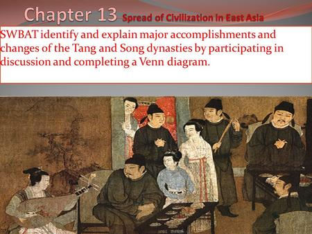 SWBAT identify and explain major accomplishments and changes of the Tang and Song dynasties by participating in discussion and completing a Venn diagram.
