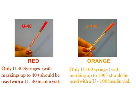 U-100 U-40 REDORANGE Only U-40 Syringes (with markings up to 40 ) should be used with a U - 40 insulin vial. Only U-100 syringe ( with marking up to 100.