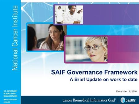 December 3, 2010 SAIF Governance Framework A Brief Update on work to date.
