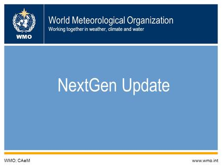 World Meteorological Organization Working together in weather, climate and water NextGen Update WMO; CAeMwww.wmo.int WMO.