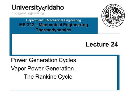Power Generation Cycles Vapor Power Generation The Rankine Cycle