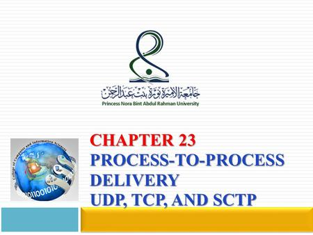 Chapter 23 Process-to-Process Delivery UDP, TCP, and SCTP