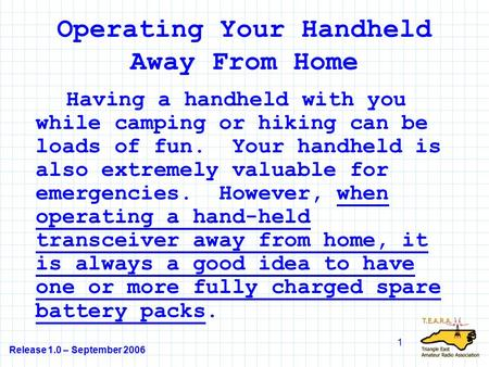 Release 1.0 – September 2006 1 Operating Your Handheld Away From Home Having a handheld with you while camping or hiking can be loads of fun. Your handheld.