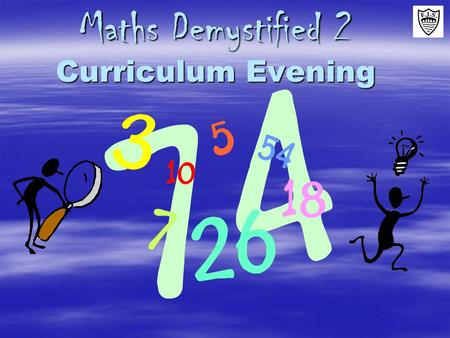 Maths Demystified 2 Curriculum Evening. What's coming up:  Why have a Maths Evening?  How children progress in Maths  The 4 rules: how are they taught.